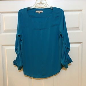 LOFT GORGEOUS BLOUSE-WEAR SLEEVES UP OR DOWN